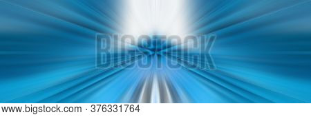 Blue Abstract Background. Bright Flash Of Light. Light Explosion From Central Point. Holy Magic Glow