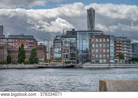 Malmo, Sweden - July 12, 2020: View From The Inner Harbor Towards The West Harbor Neighborhood. Acti