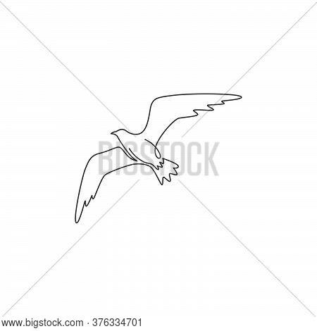 Single Continuous Line Drawing Of Elegant Seagull For Nautical Logo Identity. Adorable Seabird Masco
