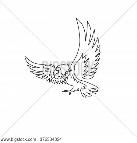 One Single Line Drawing Of Strong Eagle Bird For Company Business Logo Identity. Falcon Mascot Conce