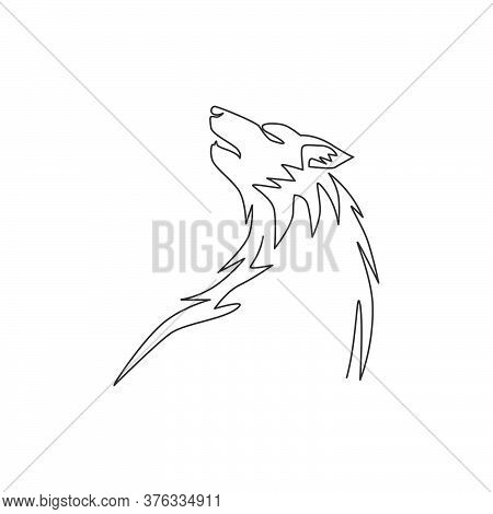 Single Continuous Line Drawing Of Mysterious Wolf Head For E-sport Team Logo Identity. Strong Wolves
