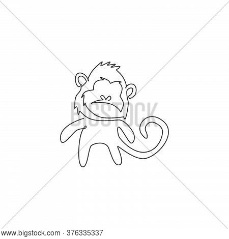 Single Continuous Line Drawing Of Cute Walking Monkey For National Zoo Logo Identity. Adorable Prima