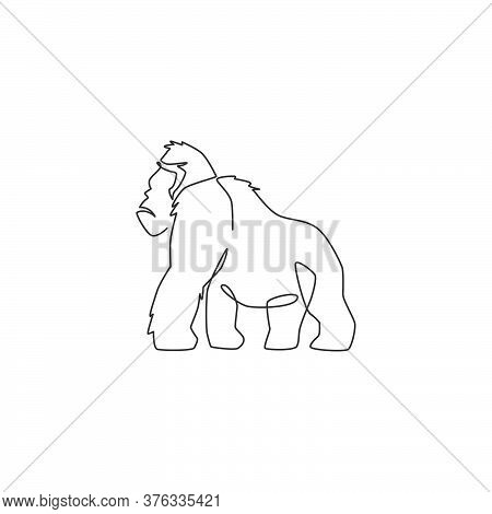 Single Continuous Line Drawing Of Gorilla For National Zoo Logo Identity. Animal Primate Portrait Ma