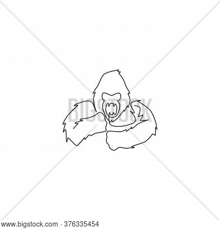 One Single Line Drawing Of Gorilla Head For Company Business Logo Identity. Scary Ape Primate Animal