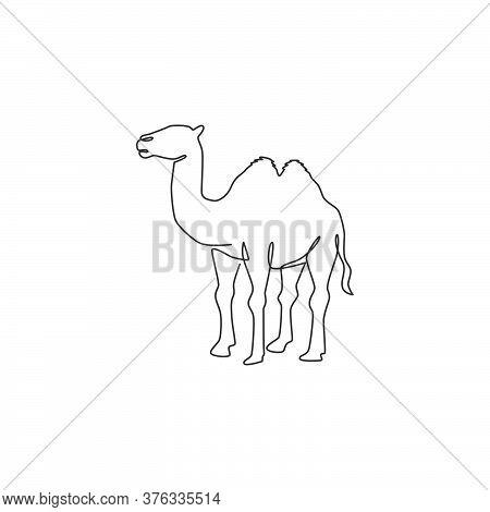 One Single Line Drawing Of Desert Arabian Camel For Logo Identity. Cute Mammal Animal Concept For Li