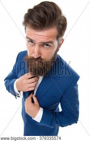 Formal Wardrobe. Bearded Man Wear Formal Suit. Serious Director In Formal Style. Formal Work Fashion