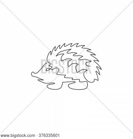 Single Continuous Line Drawing Of Cute Little Baby Hedgehog For Logo Identity. Funny Thorny Mammal R