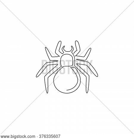 One Single Line Drawing Of Dangerous Spider For Company Logo Identity. Cute Arachnid Pet Concept For