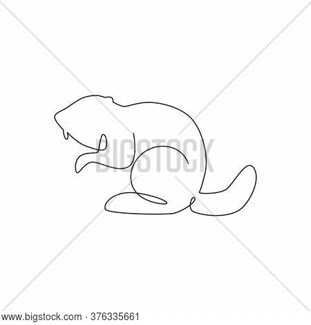 One Single Line Drawing Of Funny Standing Beaver For Logo Identity. Cute Adorable Rodent Animal Masc