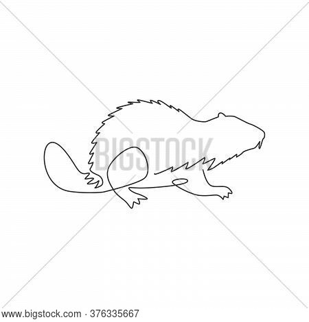 One Single Line Drawing Of Funny Beaver For Logo Identity. Adorable Funny Rodent Animal Mascot Conce
