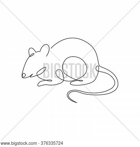 One Continuous Line Drawing Of Cute Adorable Mouse For Logo Identity. Funny Mice Rodent Animal Masco