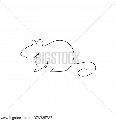 One Single Line Drawing Of Little Cute Funny Mouse For Logo Identity. Adorable Rodent Rodent Mascot