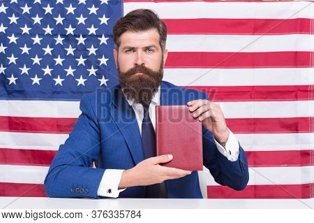 Liberty Of Printing. Patriotic Businessman Hold Book On American Flag Blackground. American Liberty.