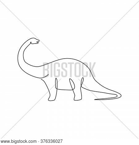 One Continuous Line Drawing Of Giant Brontosaurus Prehistory Animal With Long Neck For Logo Identity