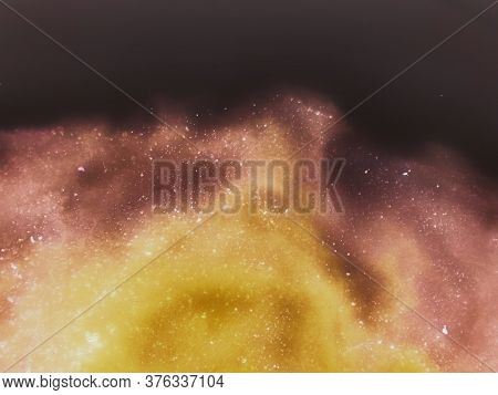Cosmic Blur Textured Banner. Alcohol Ink Texture. Rainbow Aquarelle Brush Smears. Asteroid Stone Tex