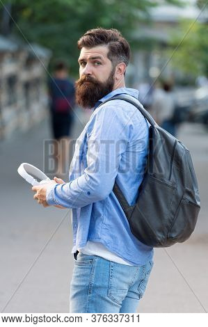 His Wanderlust Makes Him Travel. Bearded Man Go Sightseeing. Traveling And Wanderlust. Wander And Di