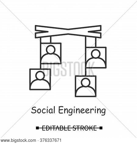 Social Engineering Icon. User Avatar On Mock Puppets Line Pictographs. Concept Of Psychological Hack