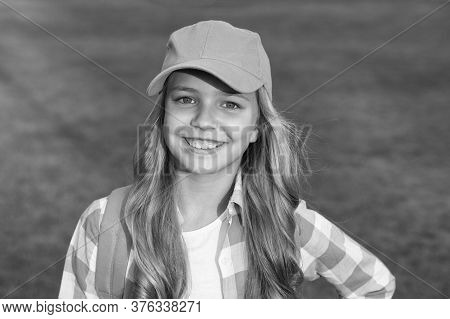 Be Your Own Hipster. Happy Little Hipster On Green Grass. Hipster Look Of Small Girl. Cute Child In