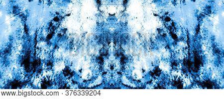 Vinter Shibori Border Design. Bleached Print. Japanese Style. Summer Colors Shimmering Modern Art. B