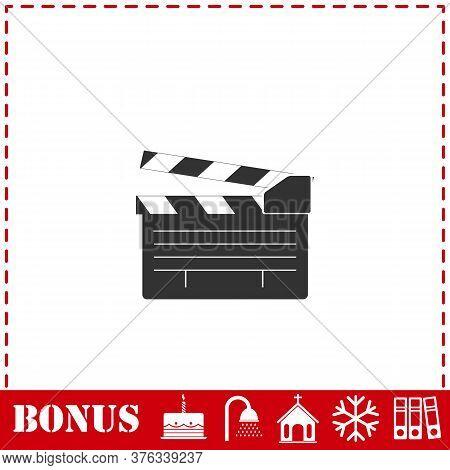 Film Flap Icon Flat. Simple Vector Symbol And Bonus Icon