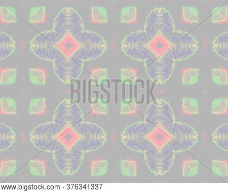 Vintage Textile Print. Tile Japanese Geometric. Ikat Rhombus Print. Pink, Gray Batik Watercolor. Vin