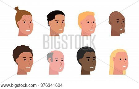 Set Of Smiling Faces Of Man Of Various Ethnicity And With Different Skin Tone And Haircuts, Heads Of