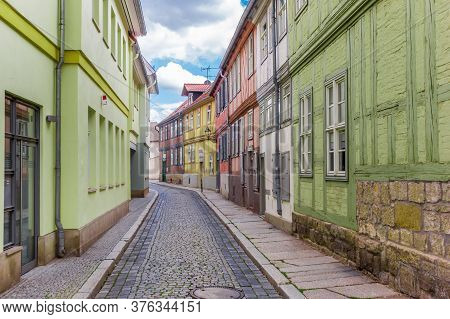 Empty Cobblestoned Street In The Historic Center Of Quedlinburg, Germany