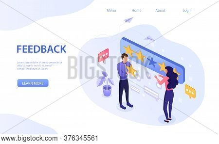 Feedback Concept With A Man And Woman Using A Five Gold Star Rating For Excellence With Copyspace Fo