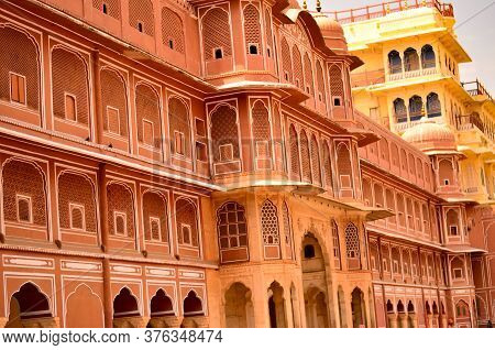 Wall Section Of City Palace, Which Includes The Chandra Mahal And Mubarak Mahal Palaces And Other Bu