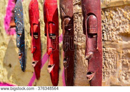 Elongated Wooden Masks On Display And Sale In A Street Shop Inside Golden Jaisalmer Fort In Jaisalme