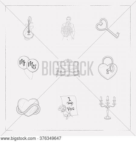 Set Of Couples Icons Line Style Symbols With King Size Bed, Candelabrum, Balloons Icons For Your Web