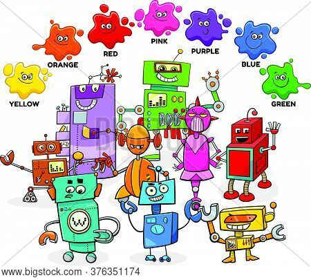 Educational Cartoon Illustration Of Basic Colors With Comic Robots Characters Group