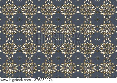 Raster Illustration. Colorful Pattern. Seamless Flat Design With Abstract Doodles On Blue, White And