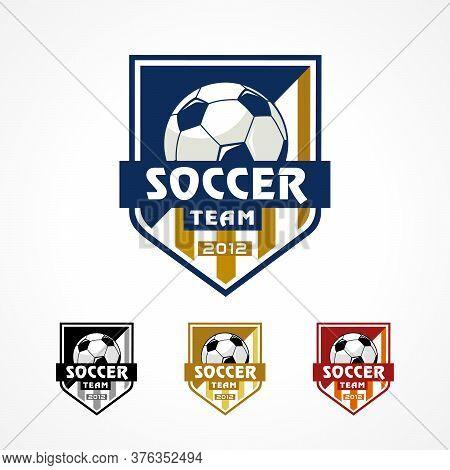 Soccer Logo, American Badge Sports. Vector Design For Football Academy Team Emblem. Tournament Shiel