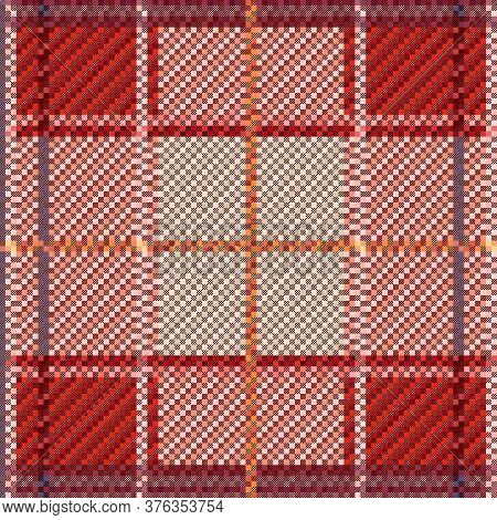Rectangular Seamless Vector Pattern As A Tartan Plaid Mainly In Hues, Texture For Flannel Shirt, Pla