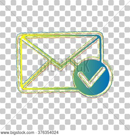 Mail Sign Illustration With Allow Mark. Blue To Green Gradient Icon With Four Roughen Contours On St