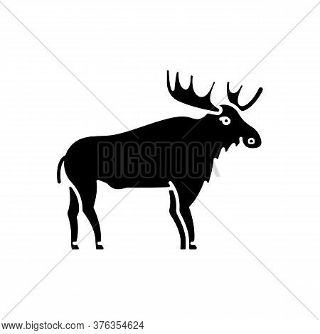 Elk Black Glyph Icon. Hoofed Ruminant Animal With Large Antlers. American Forest Wildlife Silhouette