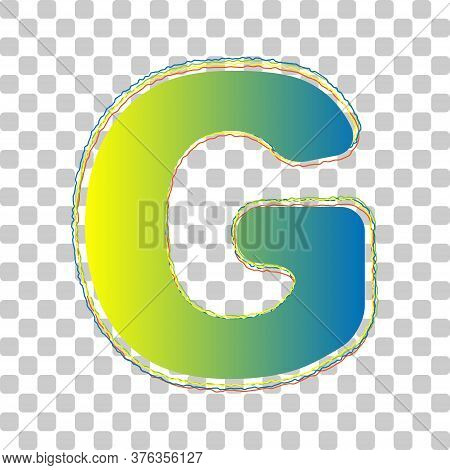 Letter G Sign Design Template Element. Blue To Green Gradient Icon With Four Roughen Contours On Sty