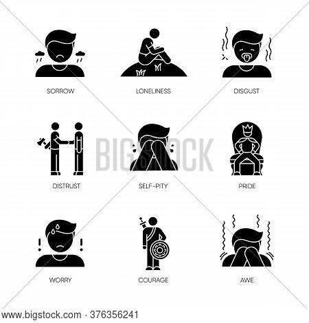 Negative Feelings Black Glyph Icons Set On White Space