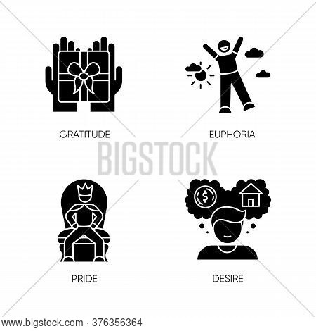 Emotions And Personality Traits Black Glyph Icons Set On White Space