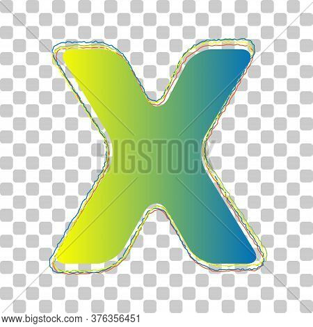 Letter X Sign Design Template Element. Blue To Green Gradient Icon With Four Roughen Contours On Sty