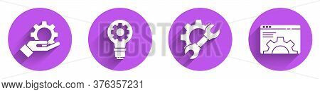 Set Settings In The Hand, Light Bulb And Gear, Wrench Spanner And Gear And Browser Setting Icon With