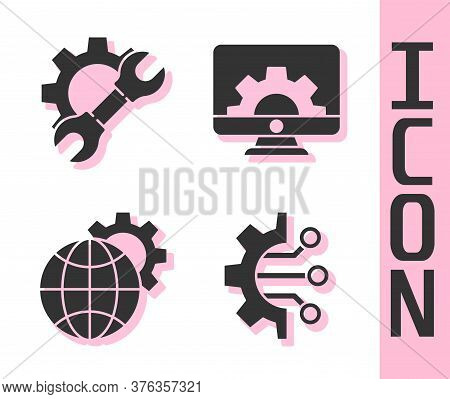 Set Algorithm, Wrench Spanner And Gear, Globe Of The Earth And Gear And Computer Monitor And Gear Ic