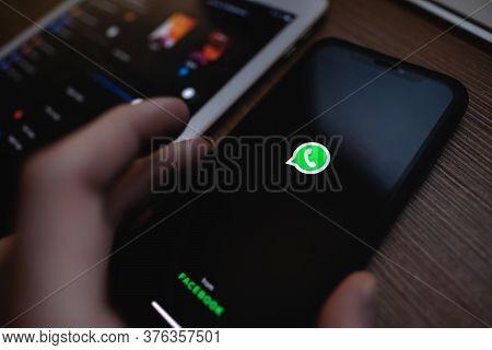 Whatsapp Dark Mode On The Smartphone Screen. High Quality Photo