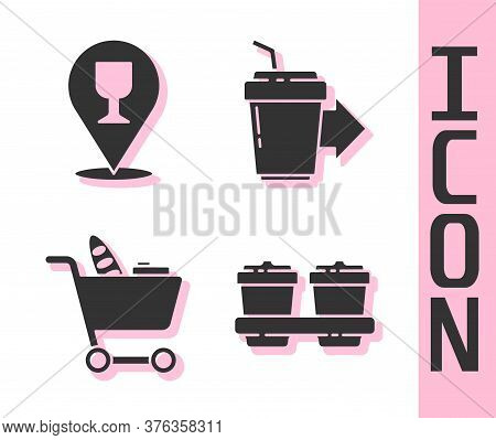 Set Coffee Cup To Go, Alcohol Or Beer Bar Location, Shopping Cart And Food And Coffee Cup To Go Icon