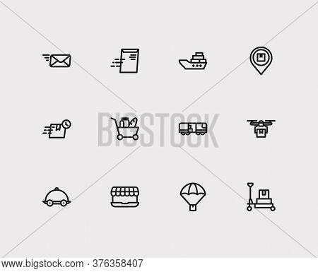 Logistics Icons Set. Global Delivery And Logistics Icons With Fast Delivery, Delivery Address And Em
