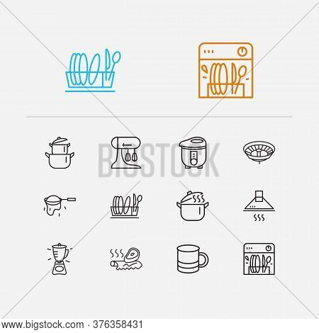 Kitchen Icons Set. Mug And Kitchen Icons With Electric Cooker, Pot And Tin Foil. Set Of Plumbing For
