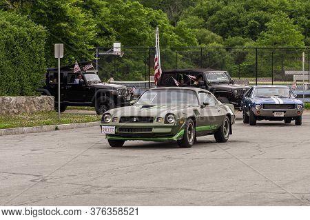 Fairhaven, Massachusetts, Usa - July 4, 2020: Z28 Camaro Passing Fort Phoenix During Fairhaven Fourt