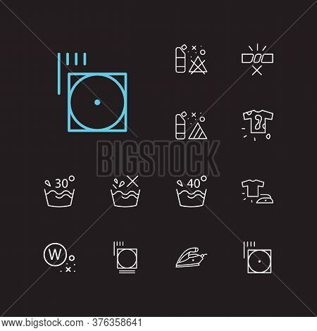 Laundry Icons Set. Do Not Wash And Laundry Icons With Wet Cleaning, Caution And Dirty T-shirt. Set O