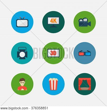 Cinema Icons Set. Popcorn And Cinema Icons With 3d Glasses, 4k Cinema And 3d Movie. Set Of Dimension
